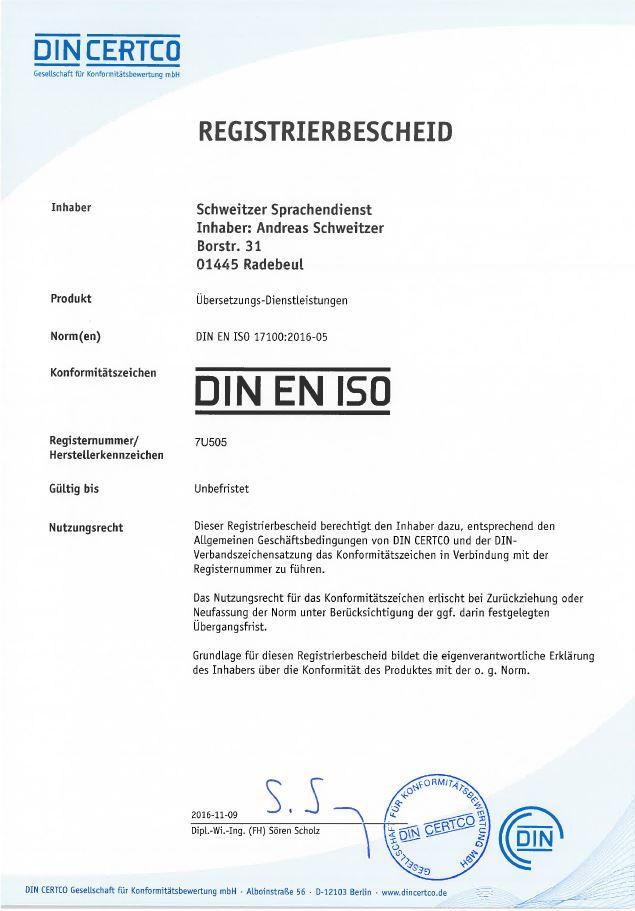 ISO 17100 - DIN CERTCO Bescheid deutsch