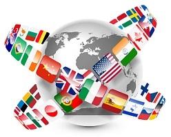 SSD - Schweitzer Sprachendienst - figure: flags around the world